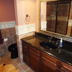 Master bathroom, ceramic tile floors, granite countertop