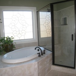 master bathroom remodel, new garden tub, new custom window, glass shower doors