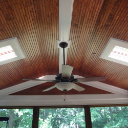 screened in porch, ceiling fan, skylights