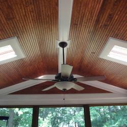 screened in porch, ceiling fan, skylights