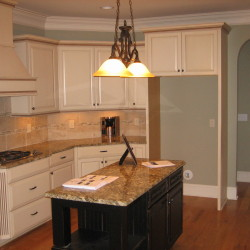 kitchen, almond cabinets, center island, hardwood floors, granite countertop