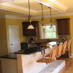 condo kitchen, barstools, granite countertops