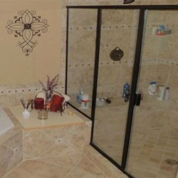 luxury master bathroom, ceramic tile, glass shower doors, garden tub