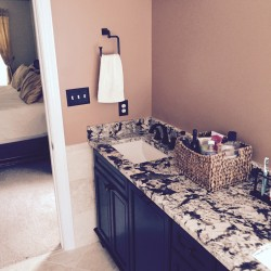 Large bathroom vanity with granite counter top