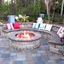 custom fire pit, stone seating area, stone firepit