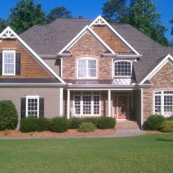 Front elevation, custom built new home