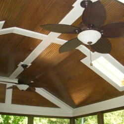 Screened porch with Bead Board ceiling and sky lights