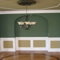 Dining Room with Trey Ceiling and wainscoting panels