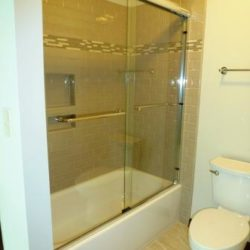 Guest bathroom with glass shower doors