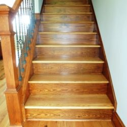 Wooden stairs using different colored woods
